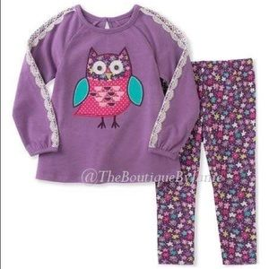 Kids Headquarters Purple Owl Tunic/Floral Leggings